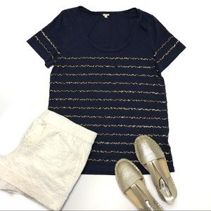 J. Crew Navy with Gold Sequin Stripes T-Shirt